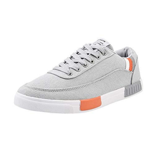 Men's Lace-Up Canvas Casual Shoes Breathable Stylish Wild Comfortable Solid Color Outdoor Sneakers Work Shoes (Gray, US:7.5)