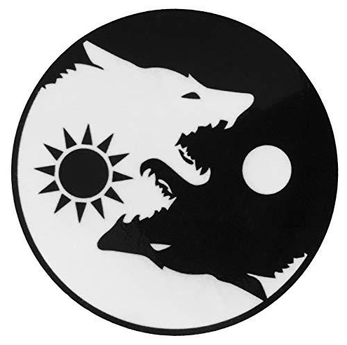 Papapatch Wolf Yin Yang Sun Moon Day and Night Kung Fu Chinese Tao Balance Sign Fox Vinyl Window Laptop Wall Decor Decal Sticker (STK-Wolf-YIN-YANG)