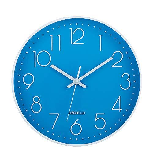 HZDHCLH Wanduhr, 30,5 cm, leise, nicht tickende Uhr für Küche, Wohnzimmer, Schlafzimmer, Büro (blau-weiß)