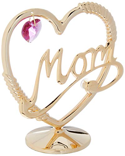 Matashi Studded Mom in A Heart Ornament, Gold Plated with Pink Crystal