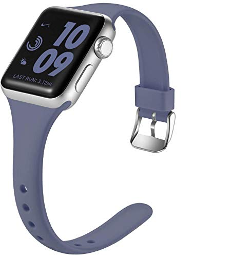 Laffav Slim Band Compatible with Apple Watch 40mm 38mm for Women Men, Soft Silicone Narrow Thin Sport Replacement Strap for iWatch SE & Series 6 & Series 5 4 3 2 1 (Blue Gray, 38mm/40mm S/M)
