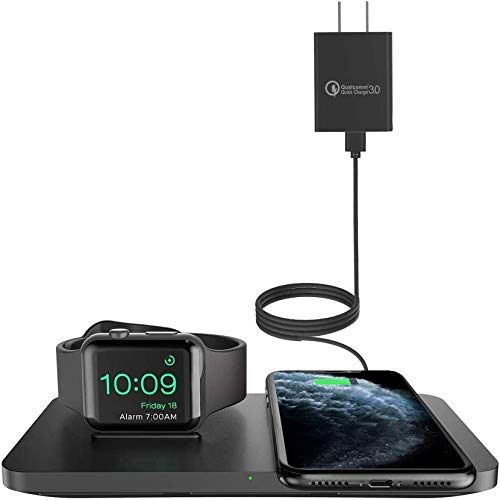 Wireless Charger [with QC 3.0 Adapter], Seneo 2 in 1 Wireless Charging Pad with iWatch Stand for iWatch 5/4/3, 7.5W for iPhone 12/11/Pro Max/XR/XS Max/XS/8/8P/Airpods Pro (No Magnetic Charging Cable)