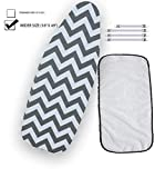 """Balffor Wider Ironing Board Cover 6 Items: 1 Extra Thick Felt Pad, Heat Resistant, [18"""" x 49""""] Please Measure Your Board, 4 Fasteners and 1 Large Protective Scorch Mesh Cloth (White & Grey)"""