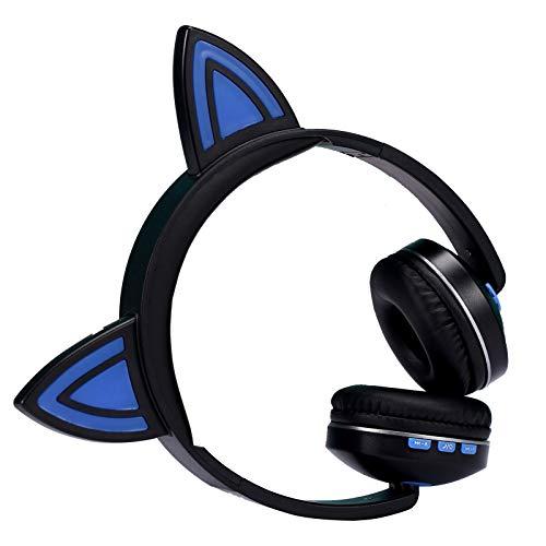 AchidistviQ Auriculares con Forma De Oreja De Gato, Auriculares Bluetooth, Auriculares Estéreo Plegables Inalámbricos con Micrófono, Auriculares Bluetooth Ajustables para Juegos Deportivos Azul Negro