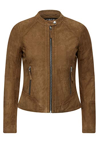 Cecil Damen Veloursleder Jacke Leather Cognac Brown XL