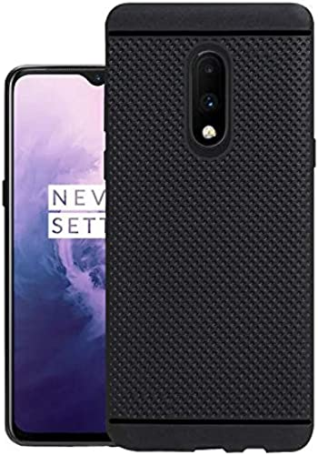 Hello Zone Exclusive Dotted Matte Finish Soft Rubberised Back Case Cover For Oneplus 7 Black