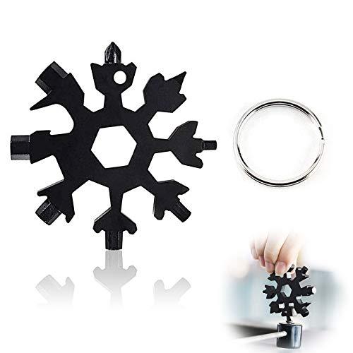 18-in-1 Snowflake Multitool,Edelstahl Multitool Schneeflocke,MultitoolEdelstahl,Schneeflocken Multi-tool,Sechskantschlüssel,Schraubendreher Flaschenöffner,Ring Wrench,Snowflake Key Ring