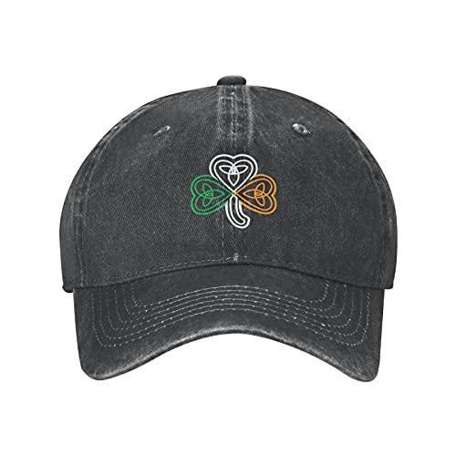 goincrond Ireland Flag Over A Celtic Knot Shamrock Shamrock Hat Baseball Cap Denim Hat, Adjustable Cooling Unisex Cotton Dad Hat for Men Women Outdoors