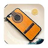 Guitarra eléctrica acústica de madera para iPhone SE 5C 5S 6S 7 8 Plus X XR XS MAX negro suave carcasa de goma silicona beige para Samsung S6