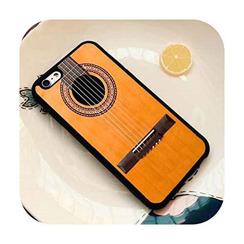 Guitarra eléctrica acústica de madera para iPhone SE 5C 5S 6S 7 8 Plus X XR XS MAX funda de silicona de goma negra