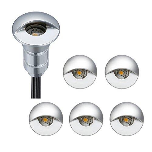 FVTLED LED Einbaustrahler aussen 0.6W Ø26mm IP65 DC12V Treppen Bodeneinbauleuchten Aussen Wasserdicht Einbaustrahler Terrasse (Warm Weiß, 6er-set)