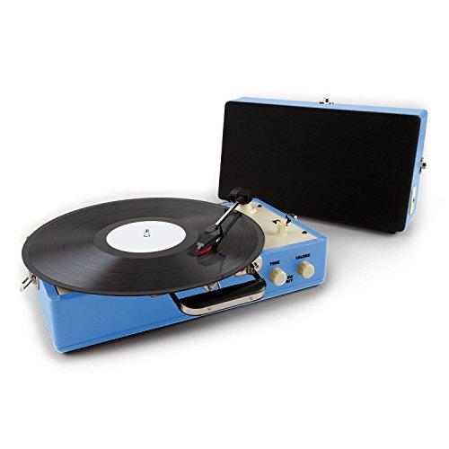 Auna Nostalgy Buckingham Tocadiscos maletín retro AUX azul (altavoces extraíbles, salida de línea, diseño vintage, entrada en lénea para MP3 CD ordenadores o componentes de audio externos)