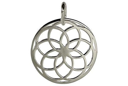 SILBERMOOS Anhänger Mandala Blume Kombianhänger glänzend 925 Sterling Silber