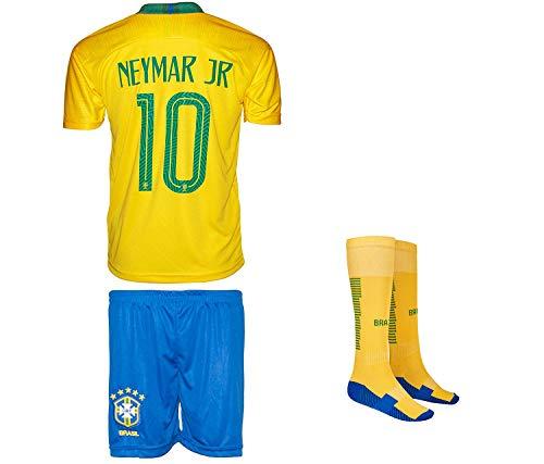 Brasilien Neymar #10 2018 Heim Trikot und Shorts mit Socken und Wickel Armband Kinder und Jugend Größe