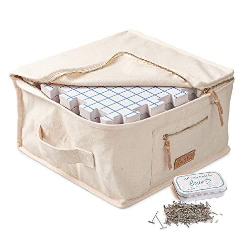 KnitlQ Premium Kit - 9 Tapis de Blocage Tricot de Mousse Extra Épaisse avec Grilles, 150 Épingles en T en Étain Artisanal, Sac Rangement Tricotage – Design Naturel