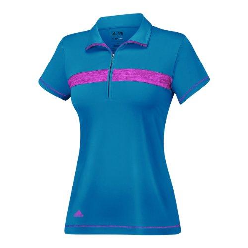 adidas Golf Puremotion - Polo con Cremallera para Mujer, Mujer, TW1137S4, Verde Azulado/Bahía Magenta/Blanco, L