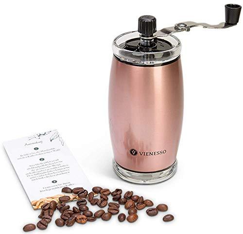 VIENESSO Hand-Kaffeemühle mit Keramikmahlwerk - manuelle Espressomühle und stufenlose Mahlgradeinstellung, besonders leicht mit 35g Füllmenge, umweltfreundlich + robust + langlebig + E-Book! (Rose)
