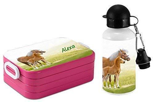 *Mein Zwergenland Set Lunchbox Mepal Maxi Take A Break midi Brotdose und Alu-Trinkflasche mit eigenem Namen Pink, Pferdewiese*