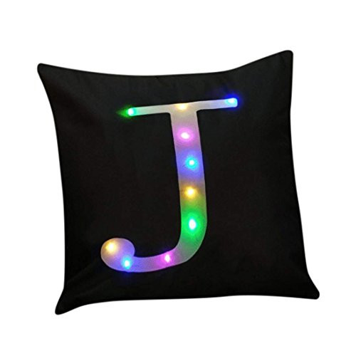 """ZUODU Black Cushion Cover Creative LED Colorful Flashing Velvet Letter Cushion Cover Pillow Cover Bar Use Party Use Festival Use Gift Use18""""x18"""" or 45cm x 45cm 1pc (J)"""