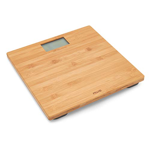 American Weigh Scales Digital Bathroom Scale with LCD Display, Bamboo