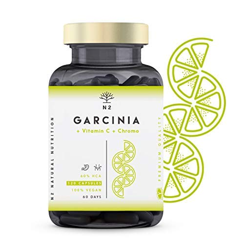 Garcinia Cambogia Hochdosiert Kapseln, Vitamin C, Chrom. Appetitzügler, Fat burner, Abnehmen, HCA 60%. 120 Pflanzliche Kapseln. Vegan Zertifiziert. N2 Natural Nutrition