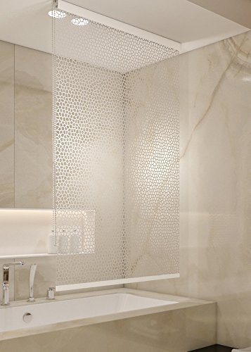 KSHANDEL24 HALB-Kassetten DUSCHROLLO 140x240 cm PEVA Milky Stone TRANSPARENT Optik! Shower Rollo Curtain!