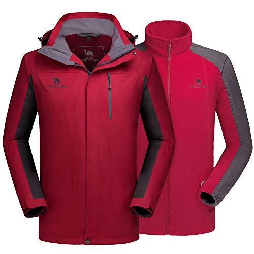 CAMEL CROWN Men's Ski Jacket 3 in 1 Waterproof Winter Jacket Snow Jacket Windproof Hooded with Inner Warm Fleece Coat Red