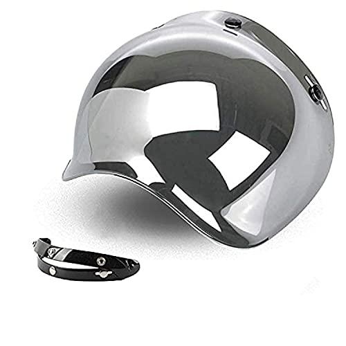 Visière Bubble trois boutons benne Miroir Miroir Argent universel pour casque jet compatible avec casques Biltwell Bell DMD Bandit AFX Nolan AGV
