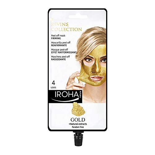Iroha Nature -Mascarilla Facial Reafirmante Peel Off con Oro 24k, 1 packs 4 usos | Mascarilla Peel-Off ORO 24K Reafirmante