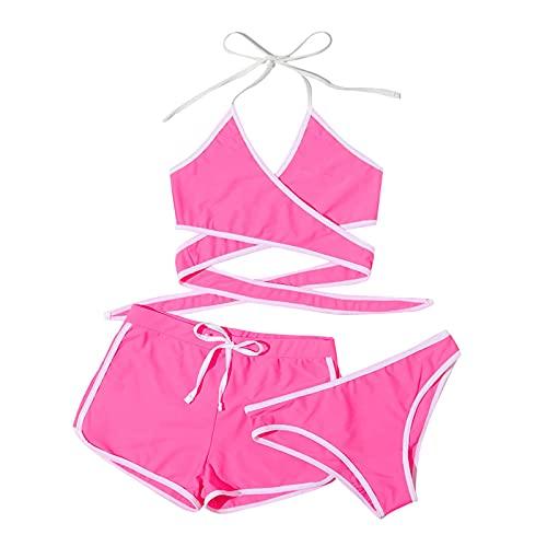 YAOBF Bauchweg Gepolstert Badeanzug Swimsuit Bikini Zara Bikini Trimmer Pailletten Badeanzug Damen Bademode GröSse (Rosa,M)
