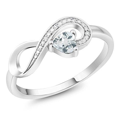 Gem Stone King 10K White Gold Sky Blue Aquamarine and Diamond Women's Infinity Ring 0.28 Ct Heart Shape (Size 7)