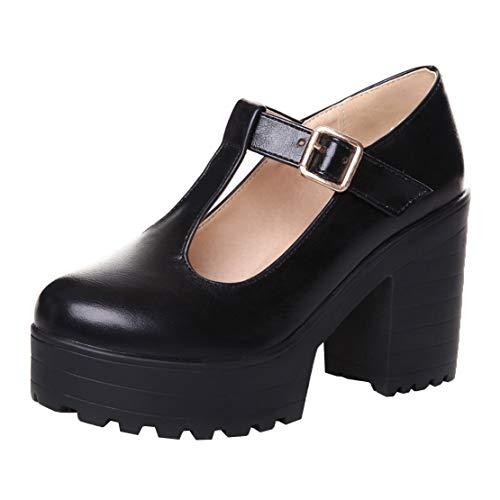 MISSUIT Damen T-Steg Pumps Mary Jane Blockabsatz Plateau High Heels mit Riemchen Schuhe(Schwarz,40)