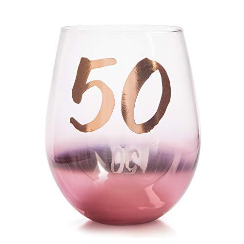 Geburtstagsglas, ohne Stiel, zum 50. Geburtstag