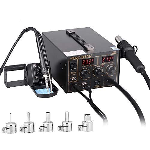 Estacion de soldadura 3 en 1 electronica Kit del Soldador Digital con Pistola de Aire Caliente 968D A+
