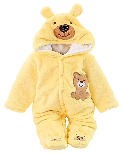 Minetom® Cálido otoño invierno escalada ropa linda de la historieta para Bebé niña oso amarillo 0-2 meses (50)
