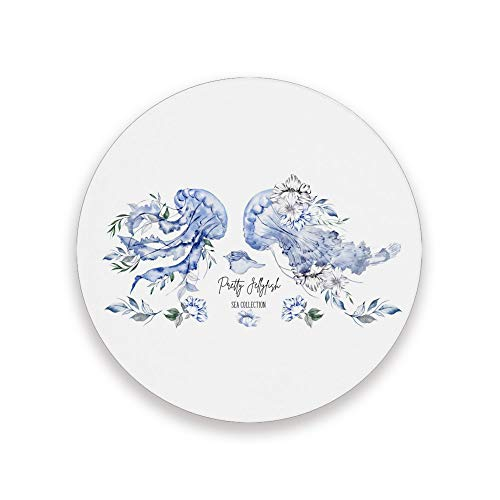 ZHIMI Coasters watercolor pretty jellyfish Absorbent Stone Coasters Round Drink Ceramic Coasters Set with Non-slip Cork Base Kitchen Decor for Mugs Cups Holders Mats 4 Packs