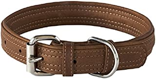 Rogz Leather Buckle Dog Collar, Brown, Medium
