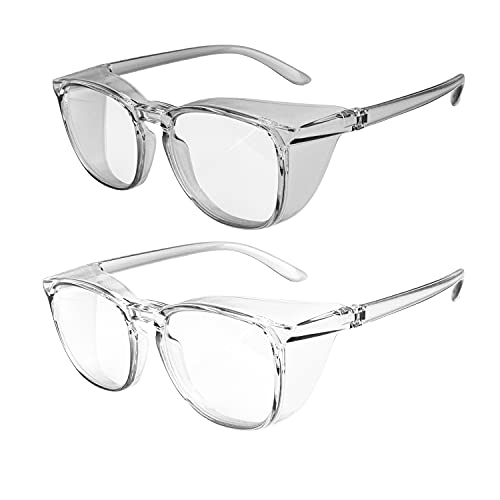 OriStout Anti-Fog Safety Glasses for Women and Men, Anti Blue Light Protective Eyewear, Fashion Lightweight Goggles for Nurses, 2 Pack