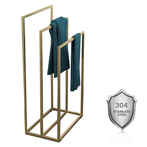 Metal Quilt Rack Vrijstaand, 3 Tier Handdoek Rail Rack, RVS Deken Ladder Handdoek Bar Stand, Badkamer Handdoek Rack Stand Drogen Rack Airer voor Hotel, Thuis, Kantoor