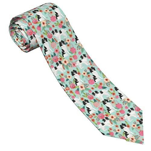 Paedto Corbatas de Hombre, Corbatas de Moda de Novedad para Hombres Corbata Delgada para Caballeros, Lazos de Moda para Negocios Formales Informales (Floral del perro casero)-8x145cm