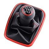 Pilang Zxxin-Schaltknäufe, 5/6 Geschwindigkeit Schaltknauf, Ersatz for Golf 4 2003-2008 IV MK4 GTI R32 Jetta, Lever Shifter Gaitor Boot-PU-Leder, Auto Zubehör (Color Name : 6 Speed Red)