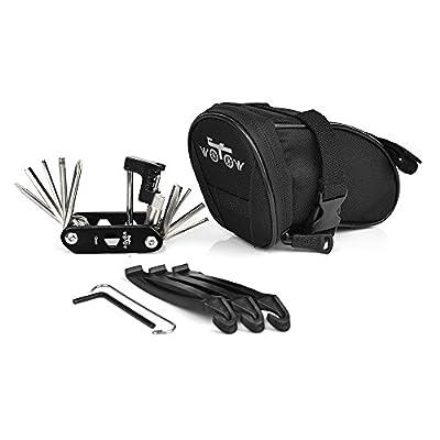 WOTOW Bike Repair Tool Kits Saddle Bag Bicycle Repair Set with Cycling Under Seat Packs 14 in 1 Multi Function Tool Kit Chain Splitter