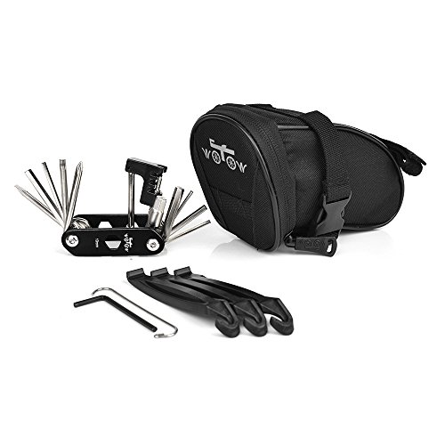 WOTOW Bike Repair Tool Kits Saddle Bag Bicycle Repair Set with Cycling Under Seat Packs 14 in 1 Multi Function Tool Kit Chain Splitter
