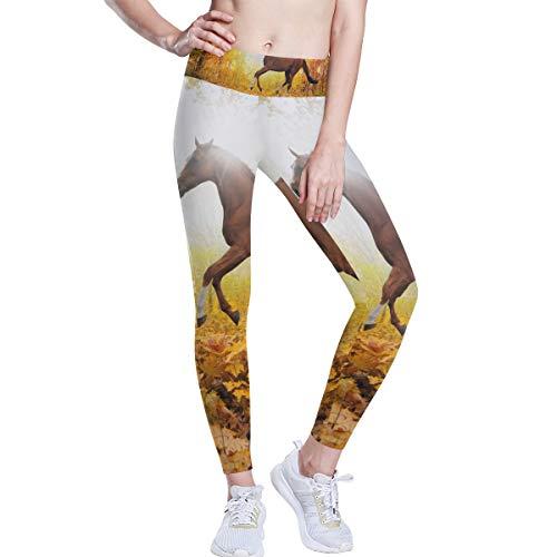 FANTAZIO Paard In Esdoorn Blad Bos Hoge Taille Yoga Broek Tummy Controle Yoga Capris voor Vrouwen, 4 Way Stretch Capri Leggings