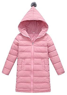 FEOYA Girls Hooded Winter Outerwear Down Coat Lightweight Warm Jacket Solid Down Jacket Pink 6-7Years