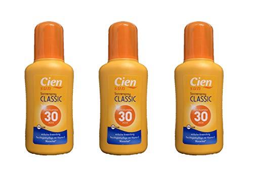 3x 200ml Cien Sun Sonnenspray Classic LSF 30 HOCH, UVA UVB Wasserfest*, Feuchtigkeitspflege Vitamin E (3x 200ml)