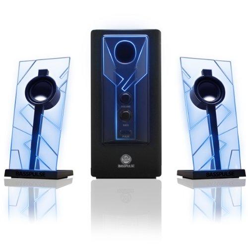 GOgroove 2.1 Soundsystem Computer Lautsprecher PC mit LED Effekt Desktop PC Lautsprecher 2.1 Anlage mit Subwoofer und blauen LED Highlights, Perfekt Geeignet für Stereo Gaming an Ihrem Computer - Blau