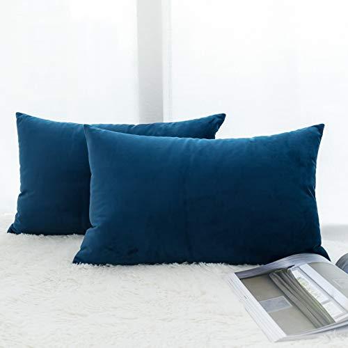 UGASA Decor Pillow Covers Velvet Cushion Case for Lumbar, 2 Pieces, 12x20-inch (30x50cm), Navy Peony Blue