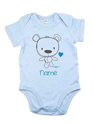 Striefchen® hellblauer Babybody mit Namen 3-6 Monate - Teddybär - ideal als Babygeschenk