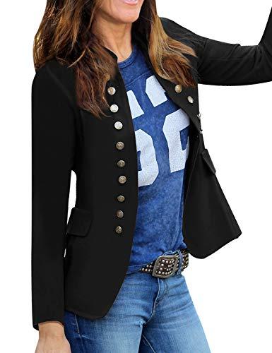 Roskiky Damen Blazer für Frauen, Cardigan, Freizeit Business Jacke, mit Taschen, Deko Knöpfe vorne Schwarz Größe Large (Fits EU 44-EU 46)